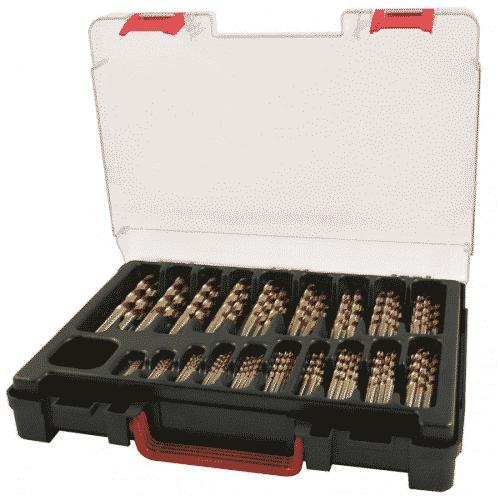 Borrlåda komplett med 170 stycken 1-10mm TIN-borr Ruko
