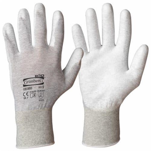 ESD-handskar med antistatiska egenskaper för att minimera förekomsten av elektrostatisk urladdning.